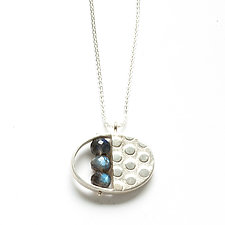 Split Oval Necklace with Labradorite by Ashka Dymel (Silver & Stone Necklace)