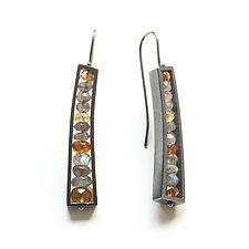 Oxidized Slender Wedge Earrings by Ashka Dymel (Silver & Stone Earrings)