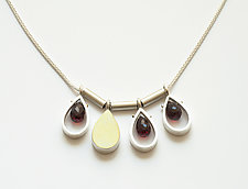 Four Teardrop Necklace with Garnets by Ashka Dymel (Silver & Stone Necklace)