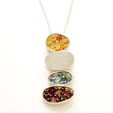 Four Ovals Necklace by Ashka Dymel (Silver & Stone Necklace)
