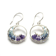 Medium Spiral Earrings in Blue and Purple by Ashka Dymel (Silver & Stone Earrings)