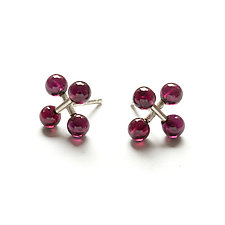 Mini Jacks Earrings with Garnet by Ashka Dymel (Silver & Stone Earrings)
