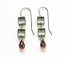 Mini Square Earrings with Garnet Teardrop by Ashka Dymel (Silver & Stone Earrings)