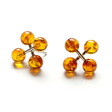 Large Jacks Earrings with Amber by Ashka Dymel (Silver & Stone Earrings)