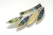 Multi-Leaf Pin by Ashka Dymel (Gold, Silver & Stone Brooch)