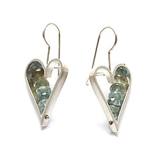 Heart Earrings in Moss Aquamarine by Ashka Dymel (Silver & Stone Earrings)