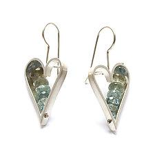 Heart Earrings in Moss Aquamarine by Ashka Dymel (Silver & Stone Earrings)