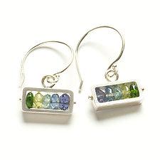 Horizontal Rectangle Earrings in Blue-Green by Ashka Dymel (Silver & Stone Earrings)