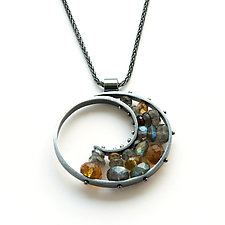 Oxidized Spiral Necklace by Ashka Dymel (Silver & Stone Necklace)