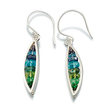 Leaf Earrings in Blue Green by Ashka Dymel (Silver & Stone Earrings)