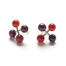 Medium Jacks Earrings with Carnelians and Garnets by Ashka Dymel (Silver & Stone Earrings)