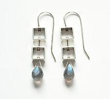 Mini Square Earrings with Labradorite Teardrop by Ashka Dymel (Silver & Stone Earrings)