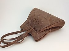 Halle Evening Bag in Light Brown Wave Lambskin by Michelle  LaLonde (Leather Purse)
