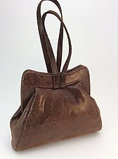 Halle Evening Bag in Brown Wave Lambskin by Michelle  LaLonde (Leather Purse)