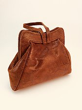 Halle Evening Bag in Nutmeg Wave Lambskin by Michelle  LaLonde (Leather Purse)