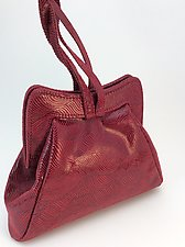 Halle Evening Bag in Syrah Wave Lambskin by Michelle  LaLonde  (Leather Purse)