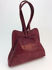 Halle Evening Bag in Burgundy Wave Lambskin by Michelle  LaLonde (Leather Purse)
