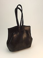 Elisa Evening Bag-Black Lizard Pattern by Michelle  LaLonde  (Leather Purse)