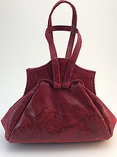 Rena Evening Bag in Syrah Wave Lambskin by Michelle  LaLonde  (Leather Purse)