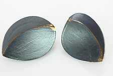 Leaf Earrings with a Rib of Gold by Ayesha Mayadas (Gold & Silver Earrings)