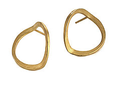 Open V Forged Circle Earrings by Ayesha Mayadas (Gold Earrings)