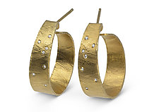 Wafer-Texture Hoops with Diamonds by Ayesha Mayadas (Gold & Silver Earrings)