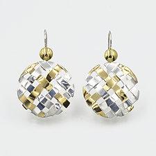 Hand-Woven Hanging Circle Earrings by Gabriel Ofiesh (Gold & Silver Earrings)
