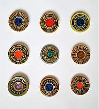 Wall Jewel Circle Grid by Janine Sopp (Ceramic Wall Sculpture)