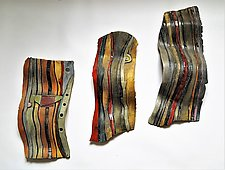 Carved Stripe Wave by Janine Sopp (Ceramic Wall Sculpture)