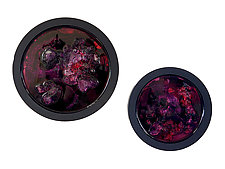 Dynamic Merlot Portal Diptych by Mira Woodworth (Art Glass Wall Sculpture)
