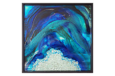 Dynamic Spectrum Window in Teal and Blue by Mira Woodworth (Art Glass Wall Sculpture)
