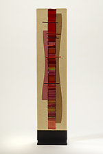 Sunset Cranberry-Coral Waterfall II by Alicia Kelemen (Art Glass Sculpture)