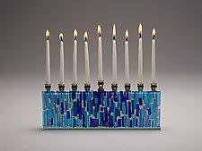 Jerusalem Sea Menorah by Alicia Kelemen (Art Glass Menorah)