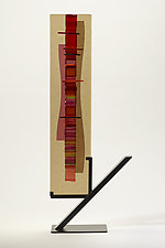 Sunset Cranberry-Coral Waterfall I by Alicia Kelemen (Art Glass Sculpture)