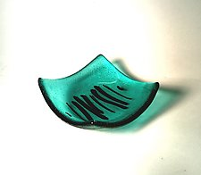 Aqua and Black II by Alicia Kelemen (Art Glass Bowl)