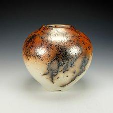 Horse Hair Raku Vase III by Lance Timco (Ceramic Vase)