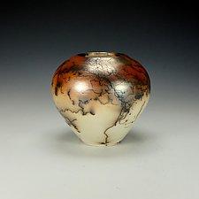 Horsehair Raku Pottery Vessel by Lance Timco (Ceramic Vessel)