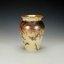Horsehair Raku Pottery Vessel XVII by Lance Timco (Ceramic Vessel)