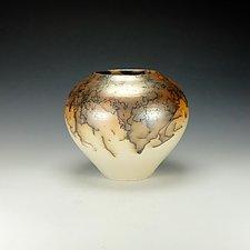 Horsehair Raku Vessel #12 by Lance Timco (Ceramic Vessel)