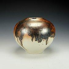 Horse Hair Raku Vase II by Lance Timco (Ceramic Vase)
