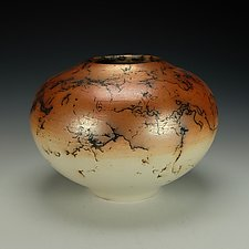 Horsehair Raku Pottery Vessel IV by Lance Timco (Ceramic Vessel)