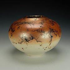 Horsehair Raku Pottery Vessel IV by Lance Timco (Ceramic Vessel)