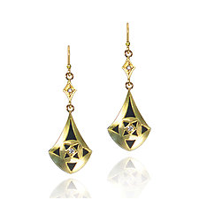 Moiré Teardrop Earrings by Keiko Mita (Gold & Stone Earrings)