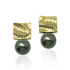 Small Puzzle Square Pearl Earrings by Keiko Mita (Gold & Stone Earrings)