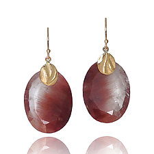 Oval Pebble Earrings by Keiko Mita (Gold & Stone Earrings)