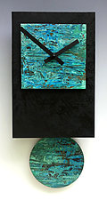 Black Tie Pendulum Clock with Verdigris Copper by Leonie  Lacouette (Metal & Wood Clock)