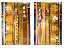 Amber Leaf Panels by Mark Ditzler (Art Glass Wall Sculpture)