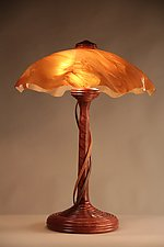 Bubinga Ridge Table Lamp with Cherry Tendrils and White Textured Shade by Clark Renfort (Wood Table Lamp)