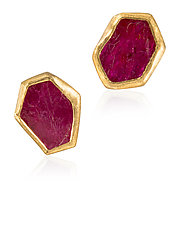 Ruby Slice Earrings by Petra Class (Gold & Stone Earrings)