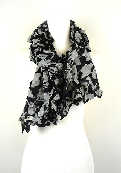 Velvet Large Flower Petal Print & Pleats Scarf in Ivory & Black
